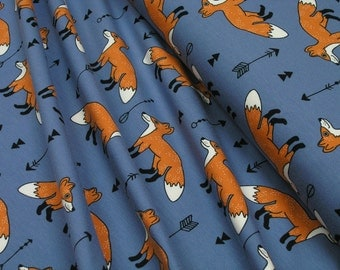 Jersey • Fox and arrow • on blue • Cotton Jersey Knit Fabric 0.54yd 002802
