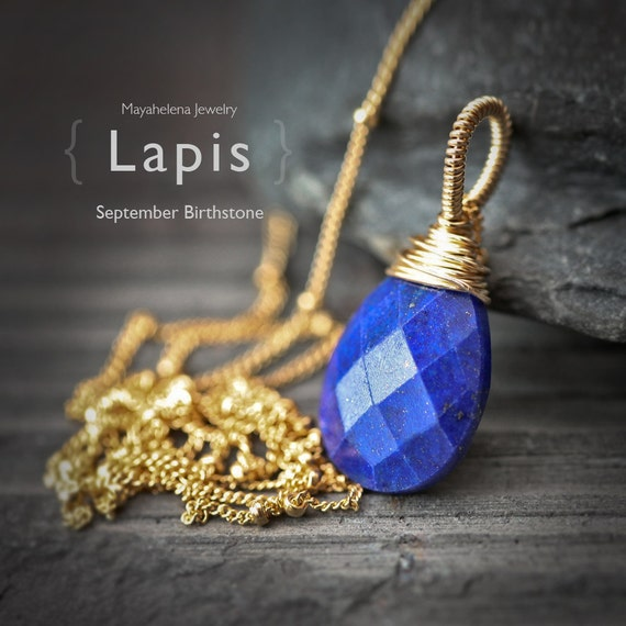 Lapis Lazuli - Genuine September Birthstone Solitaire 14k Gold Filled Wire Wrapped Necklace