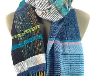 Willow | Handwoven Navy & Aqua Scarf | Heirloom Statement Piece | Woven Colorful Ladies Gifts | Bold Striped Scarf | Bohemian Textile
