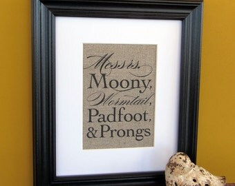 MESSRS Moony, WORMTAIL, Padfoot and PRONGS - burlap art print