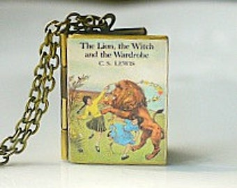 The Lion, the Witch and the Wardrobe, C.S. Lewis, The Chronicles of Narnia, White Witch, Children's Book, Aslan, Book Locket Necklace, Read