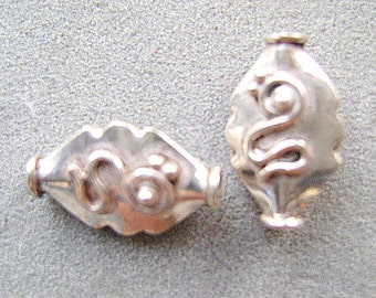 BEADS,  Sterling, Silver ,Large, 2, 10, Or 25 PC, Diamond, Shiny, Bali Style,