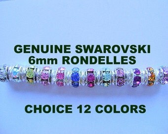 BEAD, Spacer, Swarovski, RONDELLE ,6mm, Colors, Rhinestone, Bling,  Rondel, 10 Pieces, 50 Piece, GENUINE, Factory Package, I