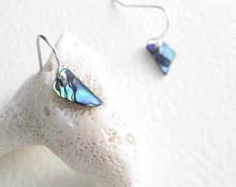 Itsy Bitsy Blue Shell Earrings, Tiny Paua Abalone Jewelry