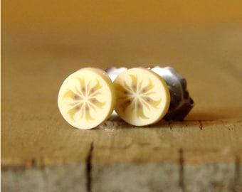 Miniature Fruit Slice Earrings - Sweet Banana Slices