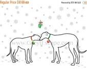 50% off Sale 10 pack GREYHOUNDS AND MISTLETOE, greyhound folded note card, greyhound christmas card, greyhound holiday card, greyhound card