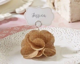 6 Rustic Vintage Burlap Rose Wedding Party Place Card Holder Favors Supplies