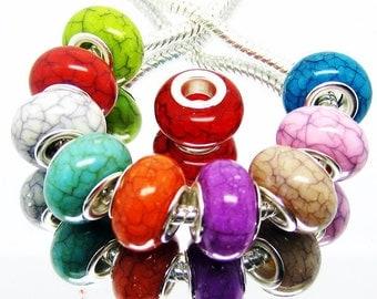 25 Pieces Sim. Turquoise Euro Beads