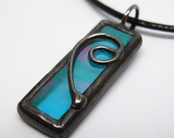 Enchanted Waters - Stained Glass Pendant with Black Cord