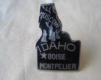 Idaho Lapel Pin Black Silver Tie Tack Vintage Brooch Enamel State