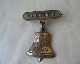 Fire St. M.S. Bell Pin Brooch Souvenir Gold Vintage Dangle