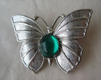 Butterfly Green Cab Brooch Silver Rhinestone Vintage Pin