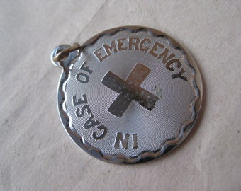 In Case of Emergency Sterling Charm Silver Vintage 925