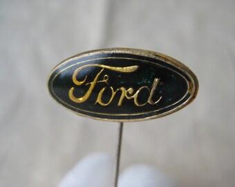 Ford Stick Pin Blue Gold Lapel Vintage