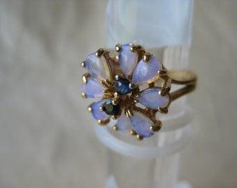 Flower Purple Blue Gold Ring Vintage Stone Size 5
