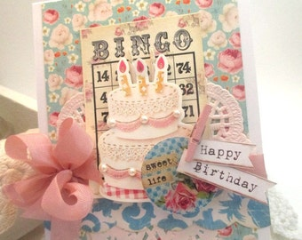 shabby birthday card-SWEET life HAPPY BIRTHDAY-greeting card