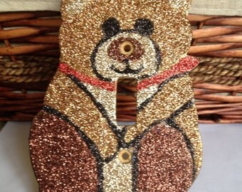 Glitter TEDDY BEAR light switchplate switch plate cover. Free USA shipping