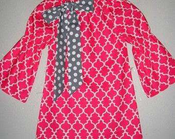 Peasant dress  Pink Quarterfoil Girls dress long sleeve peasant dress  tunic dress 2t,3t,4t,5t, 6,7,8,10,