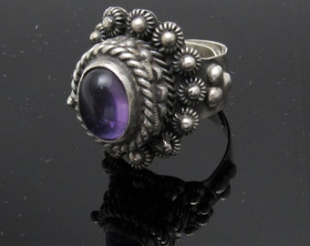Tall Sterling Cannetille Poison Ring Taxco Amethyst Jewelry R7