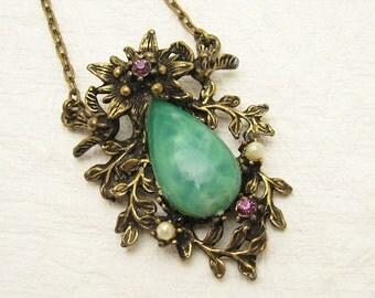 Jadite Necklace Vintage Nouveau Pendant Forties Jewelry N6973