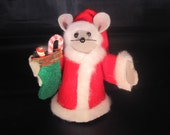Felt Santa Mouse holding a Christmas Stocking