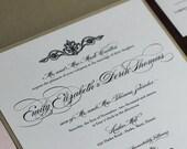 Romantic Wedding Invite, Pocket Fold Invitation, Pink and Champagne Invitation, Luxe Invitation, SAMPLE
