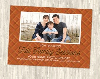 Fall Family Sessions Photography Marketing Card | One-Sided 5x7 PSD | Photoshop Template | MM8017 | Instant Download