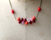 Tropical Fruit Necklace, Cherry Red, Raspberry, Grapefruit Pink, Coral Orange, Citrus Fruits, Kitsch, Vintage Czech Glass