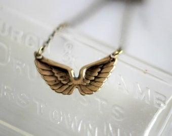 Wings Necklace, Angel Wings, Gold Wings, Gold Brass Choker, Delicate, Boho, Bohemian