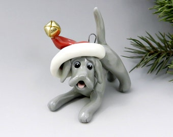 Weimaraner Christmas Ornament Figurine Santa Hat Handmade Porcelain