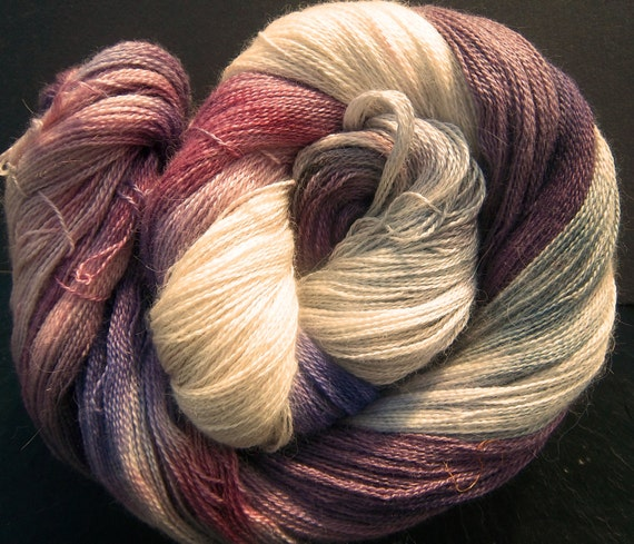 Elvincraft Lace weight 2ply Yarn Alpaca & 30% Mulberry Silk Hand Dyed Painted Elderberry Moon