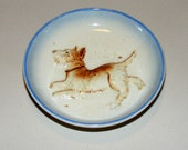 Vintage Bisque Cairn Terrier  or Scottie Dog Ring Tray Dish marked Japan