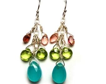 "SUMMER SPARKLE Chalcedony Peridot Pink Tourmaline SS 1-5/8"" Briolette Earrings E414a"