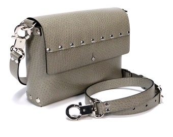 Taupe Ostrich Crossbody Bag | Taupe Handbag | Vegan | Made in USA
