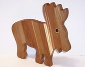 Moose Cheese Cutting Board Handcrafted from Mixed Hardwoods