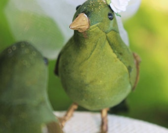Bird Wedding Cake Topper in Chartreuse Green: Bride & Groom Love Bird Cake Topper -- LoveNesting Cake Toppers
