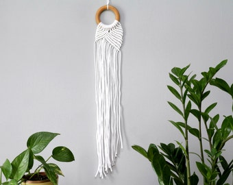 Small Modern Macrame Wall Hanging. Boho Nursery Wall Decor. Round Macrame. Bohemian Modern Scandinavian Bedroom Decor.