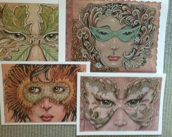 Original Masked Ladies Ink and color pencil drawing