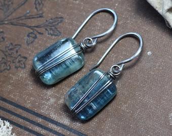 Kyanite Earrings Silver Wire Wrapped Blue Earrings Gemstone Earrings Rustic Jewelry