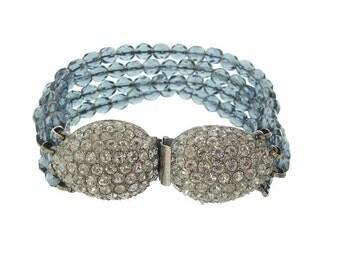 Sapphire Vintage Hobe Bracelet, Czech Glass Rhinestone Beaded Link, 1950 Fine Designer Wedding Jewelry