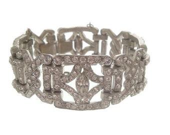 Antique Art Deco Bracelet, 1920s Vintage Rhinestone Wide Link, Antique Wedding Jewelry, Art Deco Jewellery