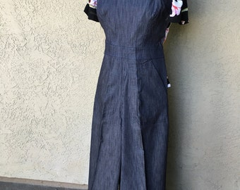 SALE Darling 1940s style Rosie overalls  XS only pinstripe navy or black stripe
