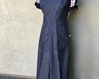 SALE Darling 1940s style Rosie overalls  XS Wabash stripe navy or black stripe