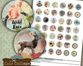 Boho Digital Collage Sheet Bohemian Bottle Cap Images 1 Inch Circles Craft Sheet Printable Bottle Cap Images Decoupage Paper Calico Collage