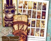 Steampunk Digital Collage Sheet 1x2 Domino Images for Pendants, Resin, Glass, Bezel Settings, Steampunk Cat, Clock Faces, Digital Sheet