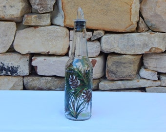 Hand Painted Glass Bottle with Pine Branches and Pine Cones and Free Flowing Spout