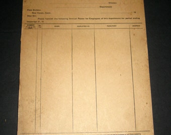 Vintage Railroad Pass Requisition Pad - New York, New Haven and Hartford Railroad Company