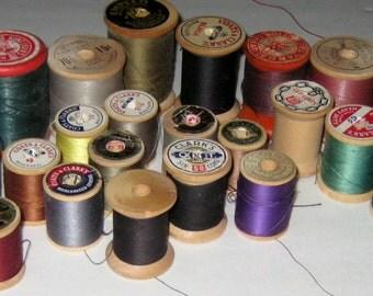 39 Vintage  Spools of Thread on Wooden Spools