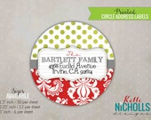 Damask Christmas Address Labels, Custom Holiday Return Address Sticker, Envelope Seal #C102