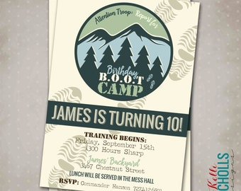 Boot Camp Birthday Party Invitation, Custom Nature Hike Digital Invite, Footprints